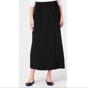 J. Jill Solid Black Smocked Front Maxi Skirt